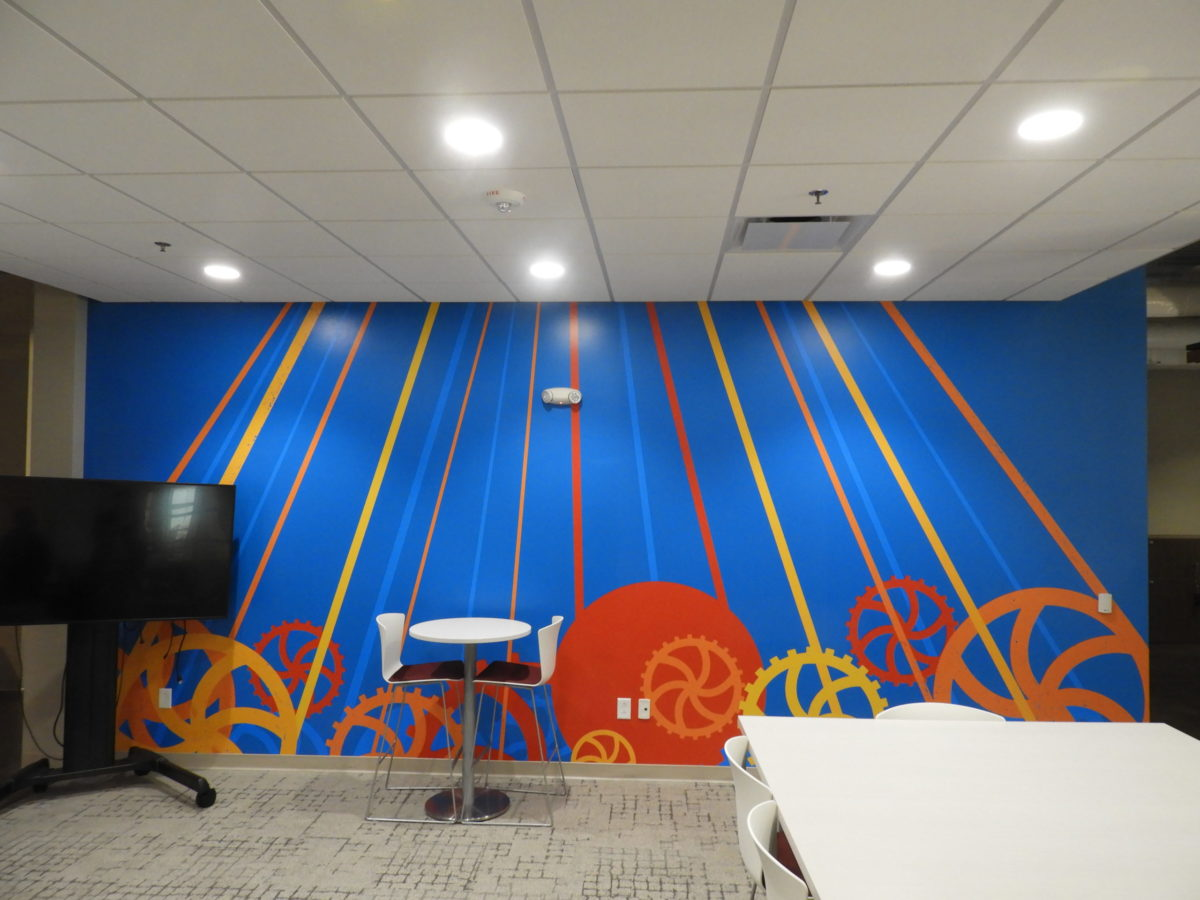 A mural in the Hurt Hub's Van Deman Innovation Lab